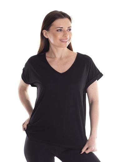 Stamina V Yaka Düşük Kollu Bluz Siyah